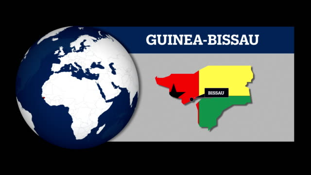 Earth Sphere Map and Guinea-Bissau Country Map with National Flag
