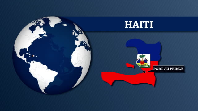 earth sphere map and haiti country map with national flag - flag haiti stock videos & royalty-free footage