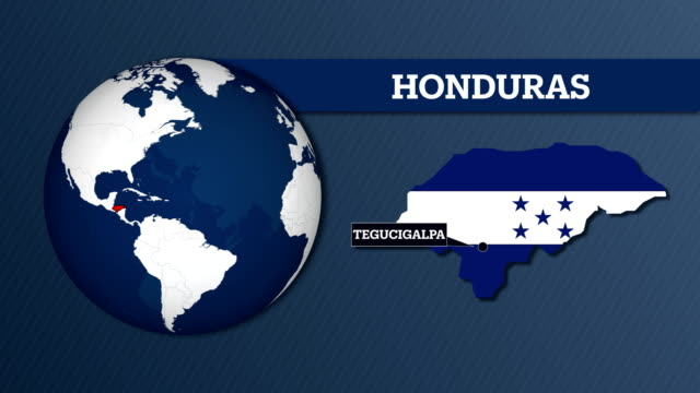 Earth Sphere Map and Honduras Country Map with National Flag