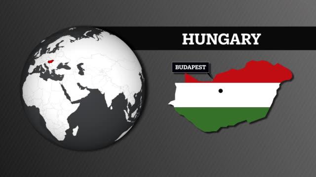 vídeos de stock, filmes e b-roll de mapa de esfera de terra e hungria mapa do país com a bandeira nacional - cultura húngara