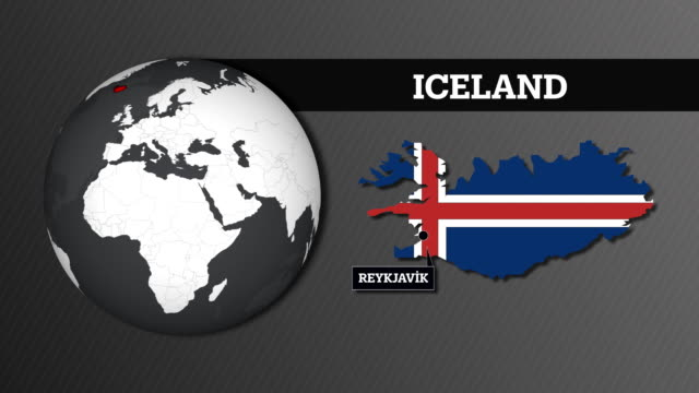 earth sphere map and iceland country map with national flag - reykjavik stock videos and b-roll footage