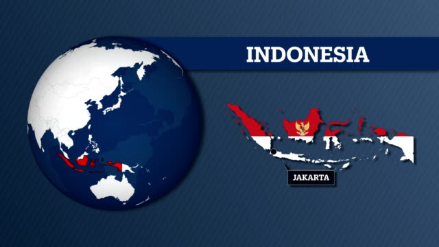 earth sphere map and indonesia country map with national flag - indonesia flag stock videos & royalty-free footage
