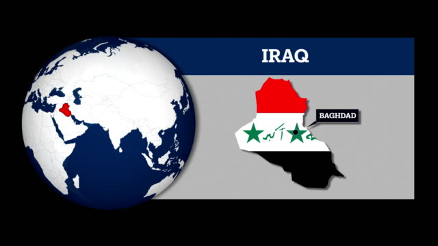 earth sphere map and iraq country map with national flag - baghdad stock videos & royalty-free footage