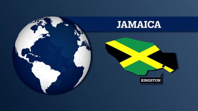 Erdkarte Kugel und Jamaika Landkarte mit Nationalflagge