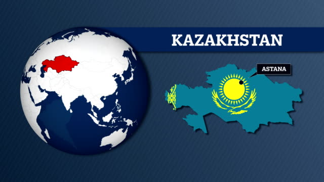 earth sphere map and kazakhstan country map with national flag - kazakhstan stock videos and b-roll footage