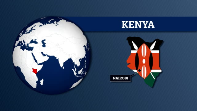 earth sphere map and kenya country map with national flag - kenya stock videos & royalty-free footage