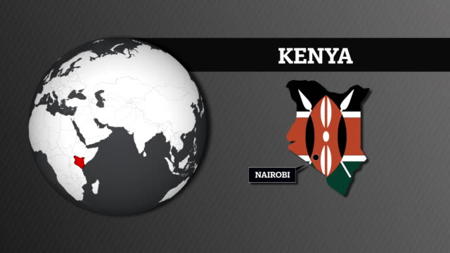 earth sphere map and kenya country map with national flag - kenyan flag stock videos & royalty-free footage
