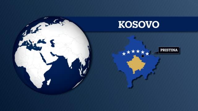 vídeos y material grabado en eventos de stock de mapa de la esfera y mapa del país de kosovo con la bandera nacional de la tierra - cultura de europa del este