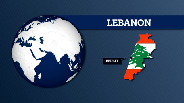 earth sphere map and lebanon country map with national flag - lebanon country stock videos & royalty-free footage