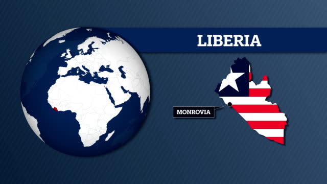 Earth Sphere Map and Liberia Country Map with National Flag