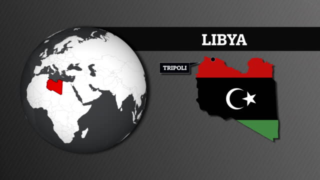 earth sphere map and libya country map with national flag - libya stock videos and b-roll footage