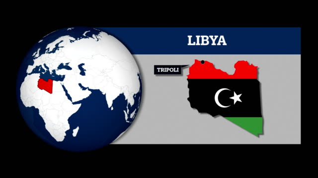 Earth Sphere Map and Libya Country Map with National Flag