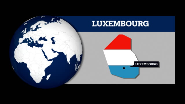 vidéos et rushes de carte de sphère terre et carte du pays luxembourg avec drapeau national - frontière