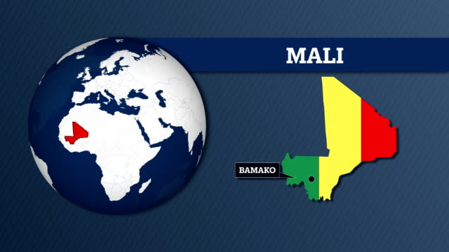 Earth Sphere Map and Mali Country Map with National Flag