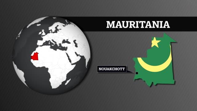 地球球地図と国旗とモーリタニア国地図 - ヌアクショット点の映像素材/bロール