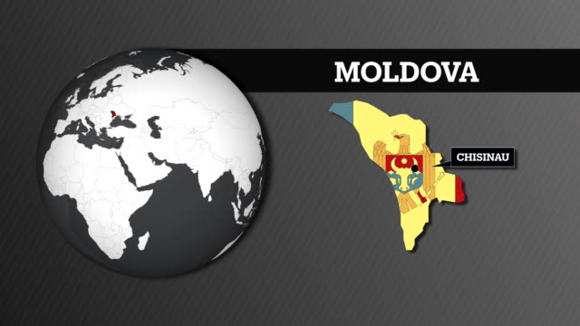 earth sphere map and moldova country map with national flag - moldova stock videos and b-roll footage