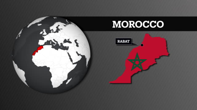 Earth Sphere Map and Morocco Country Map with National Flag
