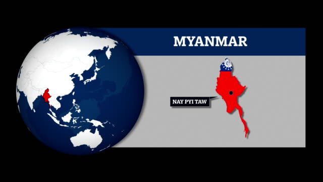 earth sphere map and myanmar country map with national flag - rohingya culture stock videos and b-roll footage