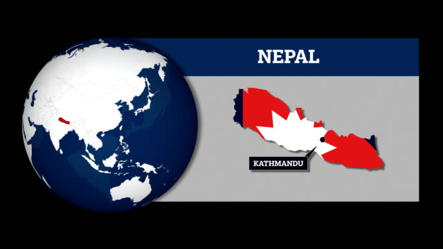 earth sphere map and nepal country map with national flag - nepali flag stock videos & royalty-free footage
