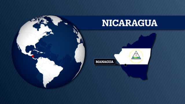 earth sphere map and nicaragua country map with national flag - managua stock videos & royalty-free footage
