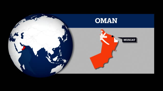 earth sphere map and oman country map with national flag - oman flag stock videos and b-roll footage