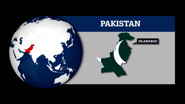 earth sphere map and pakistan country map with national flag - pakistani flag stock videos & royalty-free footage