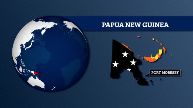 Earth Sphere Map and Papua New Guinea Country Map with National Flag
