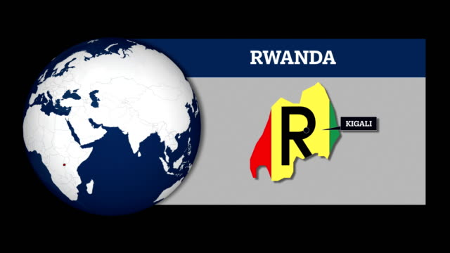 earth sphere map and rwanda country map with national flag - war crimes trial stock videos & royalty-free footage
