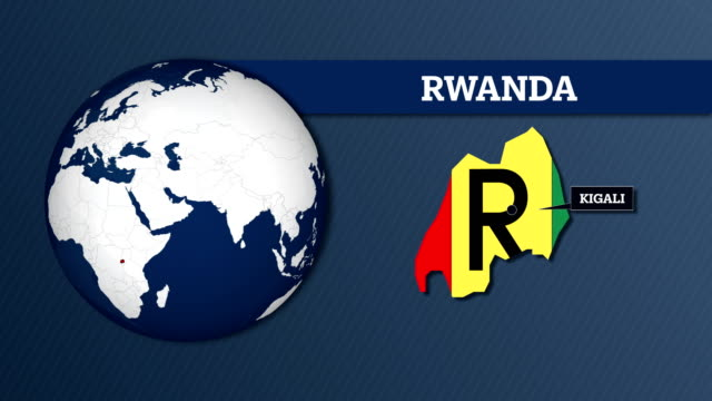 地球球地図と国旗とルワンダ国地図 - キガリ点の映像素材/bロール