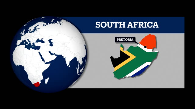 Earth Sphere Map and South Africa Country Map with National Flag