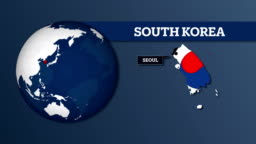 Earth Sphere Map and South Korea Country Map with National Flag