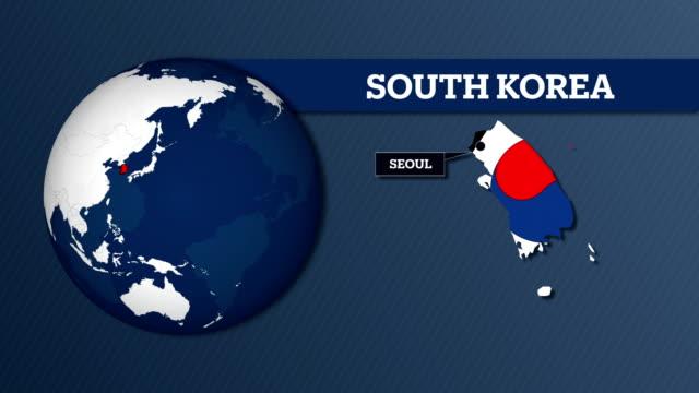 stockvideo's en b-roll-footage met kaart van earth gebied en zuid-korea land kaart met nationale vlag - zuid korea