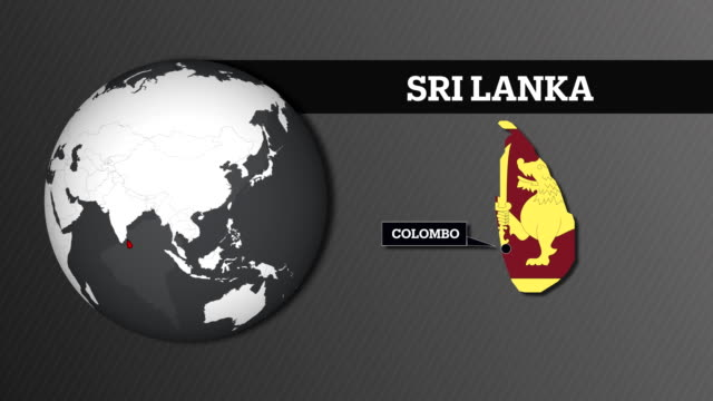 earth sphere map and sri lanka country map with national flag - sri lankan flag stock videos & royalty-free footage
