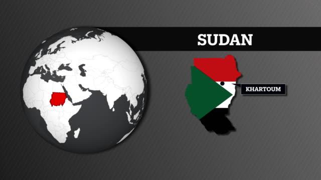 地球圏地図と国旗とスーダン国の地図 - スーダン点の映像素材/bロール