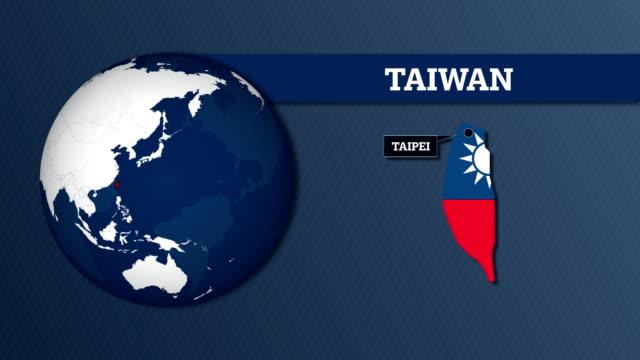 vídeos y material grabado en eventos de stock de mapa de esfera y taiwan mapa del país con la bandera nacional de la tierra - bandera de taiwán
