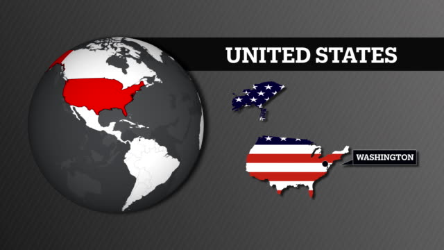 earth sphere map and united states usa country map with national flag - stati del mid atlantic usa video stock e b–roll