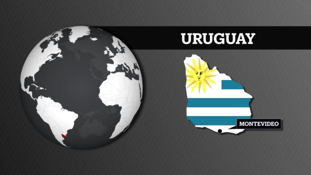 earth sphere map and uruguay country map with national flag - uruguaian flag stock videos & royalty-free footage