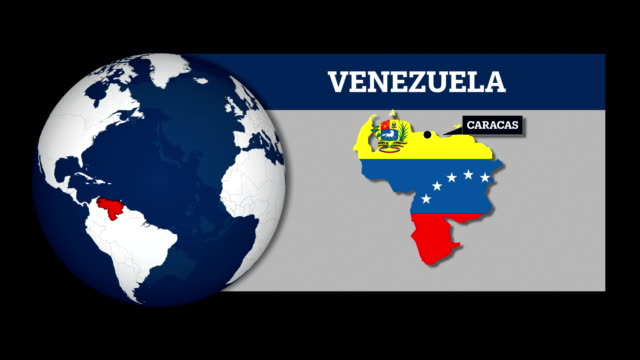 earth sphere map and venezuela country map with national flag - caracas stock videos & royalty-free footage
