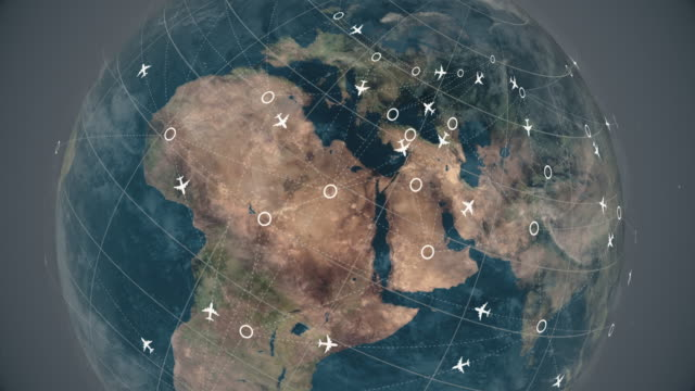earth sphere map with flying airplane routes, air travel destinations animation, business travel road trip satellite view world globe spinning time lapse, plane route animation, air traffic - passenger stock videos & royalty-free footage