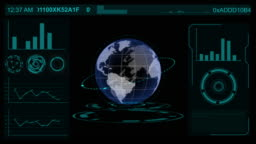 Earth Sphere technology interface screen, HUD element display Sci-fi with business graph, technology of future concept