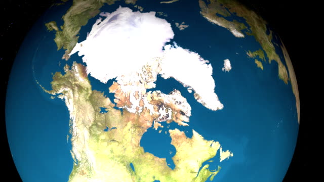 earth spins in space revealing the north pole. - arctic stock videos & royalty-free footage