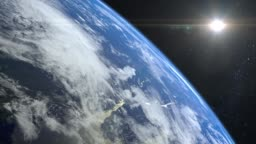 Earth. View from space. The camera rotates to the right and flies away from the Earth. Stars twinkle. 4K. Realistic atmosphere. 3D Volumetric clouds. The sun is in the frame.