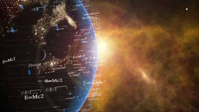 earth with digital data grid for science and math - e=mc2 stock videos & royalty-free footage