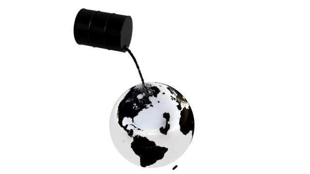 Earth with oil spill