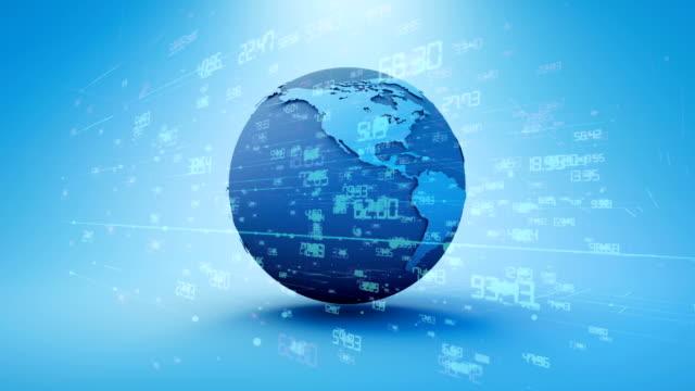vídeos de stock e filmes b-roll de earth world map made in computer graphics clean render, broadcast use - alto contraste