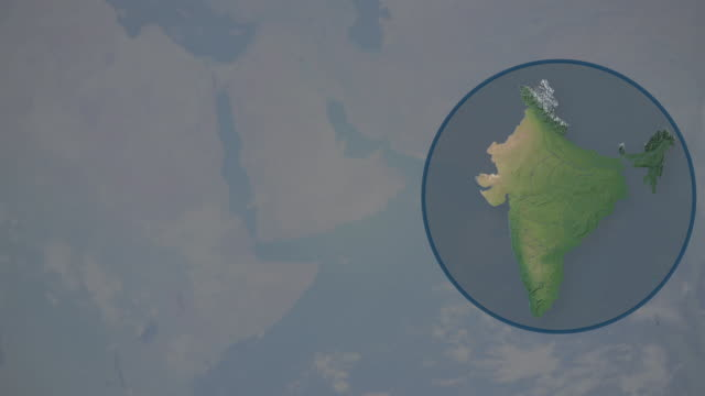 earth zoom on india and is cut out and placed in blue circle - physical geography stock videos & royalty-free footage