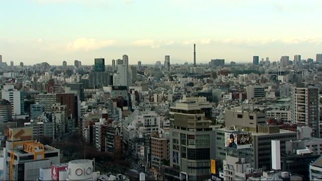earthquake and tsunami aftermath: general views of tokyo / empty shelves in supermarket; various gvs tokyo city skyline / various high angle shots... - erdbeben stock-videos und b-roll-filmmaterial