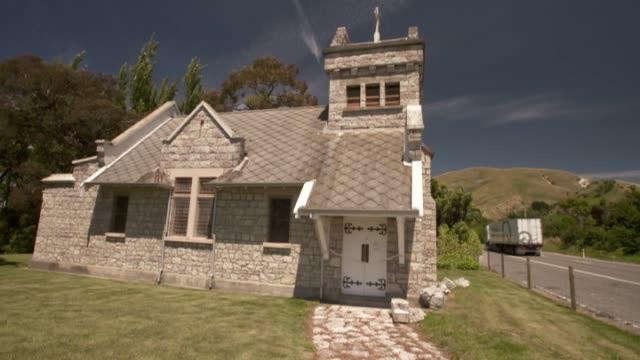 Earthquake damaged St Oswald's Memorial Church at Wharanui near Kaikoura