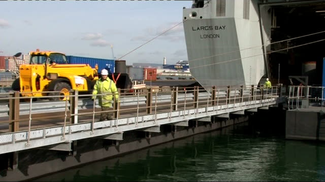 royal fleet auxiliary aid ship loaded in southampton england hampshire southampton ext general views of landrover vehicles queuing to be driven on... - flag haiti stock videos & royalty-free footage