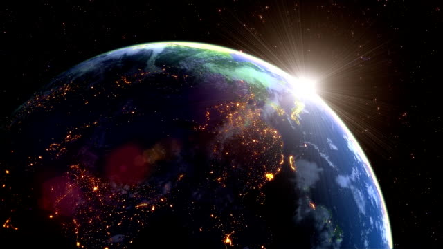 earth's rotation loop with night side city lights - sun stock videos & royalty-free footage